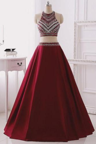 Pretty Burgundy Long Prom Dresses,Gorgeous Handmade 2 Pieces Prom Dresses,Modest Evening Dresses