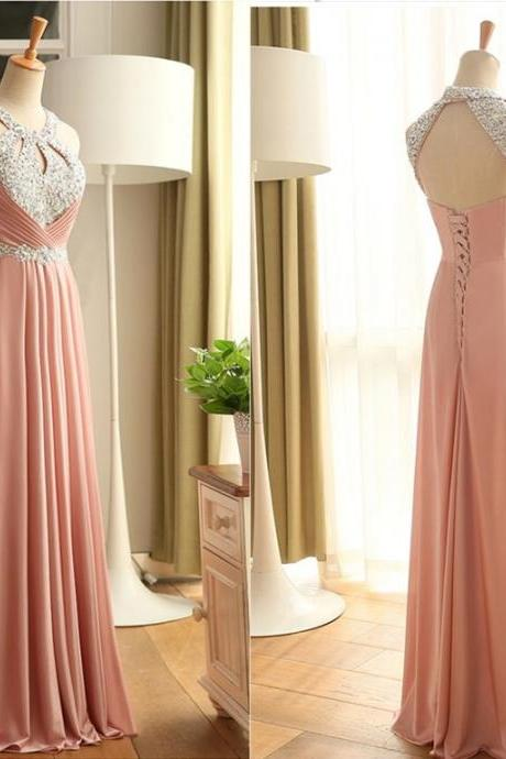 Blush Pink Halter Prom Dresses,Lace Up Handmade Prom Gowns,Pretty Evening Gowns,Long Party Gowns