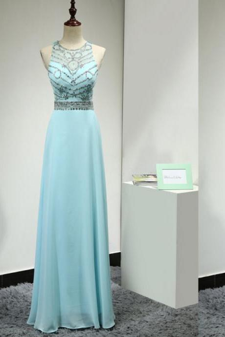 Charming Prom Dresses,Handmade Prom Dresses,Light Sky Blue Prom Gowns,Prom Dress, 2016Pretty Evening Dresses