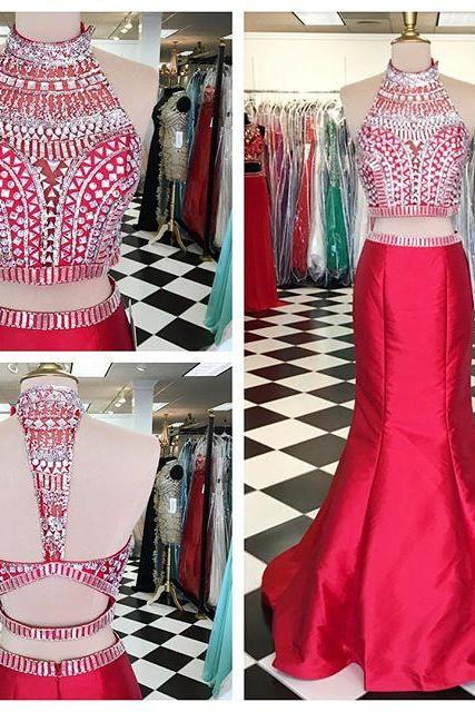 Light Red 2 pieces Prom Dresses,Mermaid Prom Dress,Charming High Neckline Prom Gowns,Evening Dresses