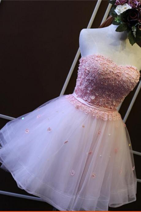 Charming Girly Short Strapless Homecoming Dresses,Pink Gorgeous Graduation Dresses,Beautiful homecoming Dresses