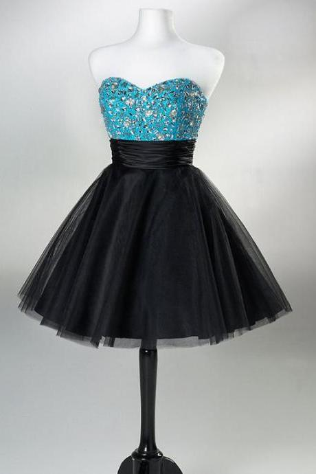 Strapless Homecoming Dress,Black Skirt With Blue Silver Beads Homecoming Dress For Teens