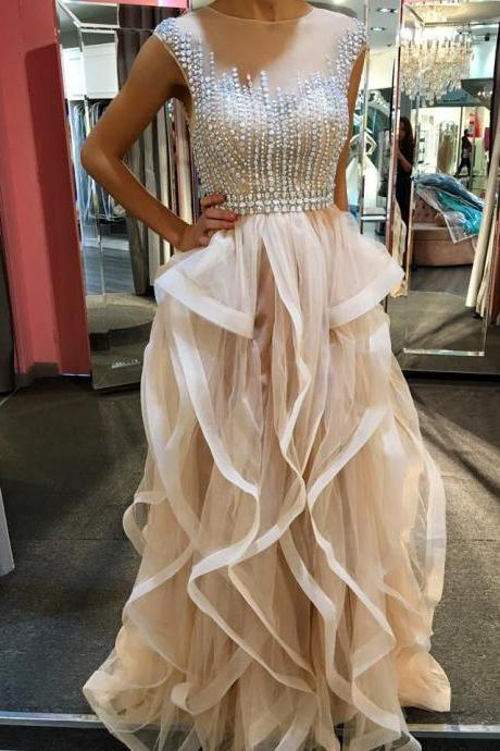 Beading Pretty Champagne Long Prom Dresses,Sparkly Handmade Prom Gowns