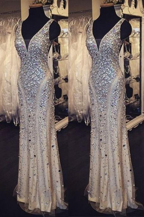 Sequin Shiny Long Beading Prom Dresses,V-neck Prom Dress, Prom Dress 2016,Sparkly Prom Gowns,Modest Evening Dresses
