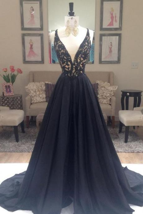 Deep V-neck Lace Long Prom Dresses,Black A-line Prom Dresses,Modest Prom Dresses,Sparkly Prom Gowns