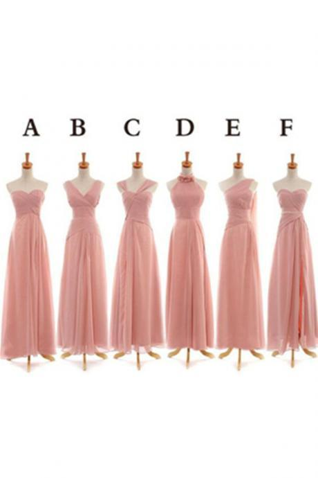 Elegant Simple Cheap Long Chiffon Bridesmaid Dresses,Bridesmaid Gowns,Pink Bridesmaids Dresses