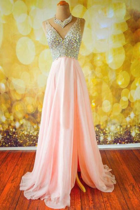 Top Selling Long Pink Prom Dresses,Beading Prom Dresses,V-neck Prom Dresses ,Modest Prom Dresses,Evening Dresses