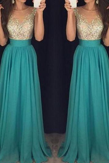 Pretty Long High Low Chiffon Beading Teal Prom Dresses,Prom Dress,Evening Dresses,Party Gowns