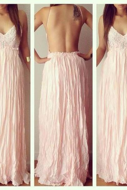 Sexy Prom Dress, Prom Dress for Formal ,Backless Prom Dress,Spaghetti straps Prom Dress, V-Neck Dresses For Prom
