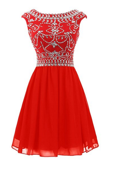 Hot Selling Red Short Homecoming Dresses, For Teens,Beauty Beading Graduation Dresses,pen Back Cocktail Dresses