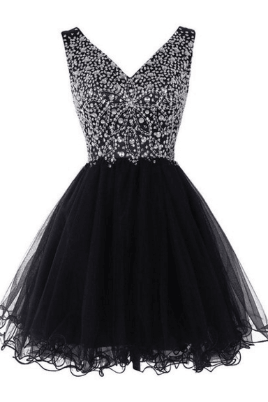 Pretty V-neck Homecoming Dresses For Teens,Beading Black Cocktail Dresses,Zipper Back Graduation Dresses