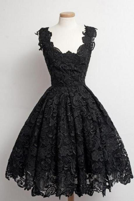 Real Beautiful Black Lace Short Prom Dresses,Simple Graduation Dresses,Cheap Party Dresses For Teens