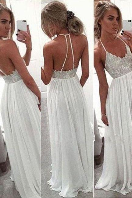 Simple Lace Beading Long Prom Dresses,Cheap Halter Prom Dress,Spaghetti Straps Party Dresses,White Prom Gowns