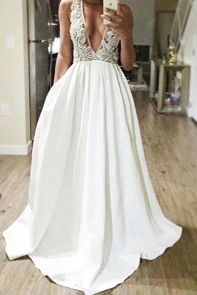 Sexy V Neck Long Prom Dress,Beading Prom Dresses