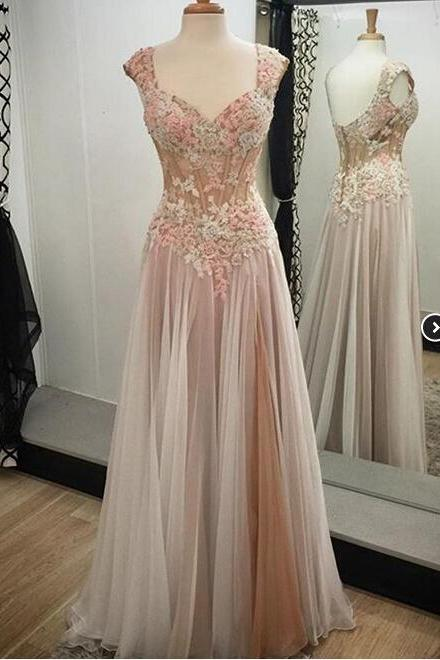 2016 Hot Sale Appliques Prom Dress,Custom Made Prom Dress,Lace Prom Gowns,Sexy Women Dress,A line Evening Dress