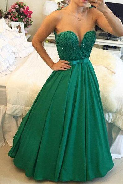 New Arrival Ball Gown Prom Dress,A-Line Sweetheart Crystal Evening Dress ,with Beadings Open Back Floor Length Prom Gowns,2016 Prom Dress