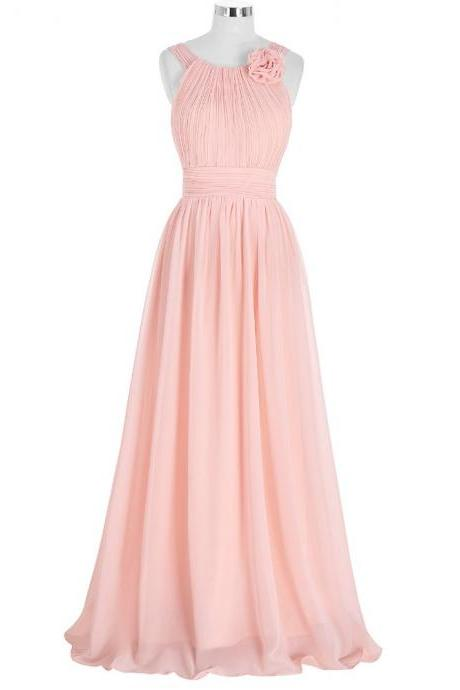 Evening Dresses ,Long Elegant Pink Chiffon A Line Evening Gowns ,Formal Party Dresses