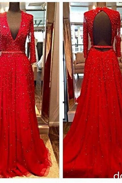 New Design Elegant Red Long Sleeves Evening Dresses, 2016 Beads Sequins V-Neck Open Backless Crystal Party Prom Gowns