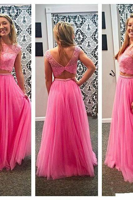 Elegant Pink Two Pieces Beaded Crystals Prom Dresses, Sexy Scoop Neckline Short Sleeve Appliques Tulle Evening Gowns