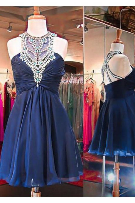 Navy Blue Homecoming Dress,Cute Prom Dress,Short Prom Dresses