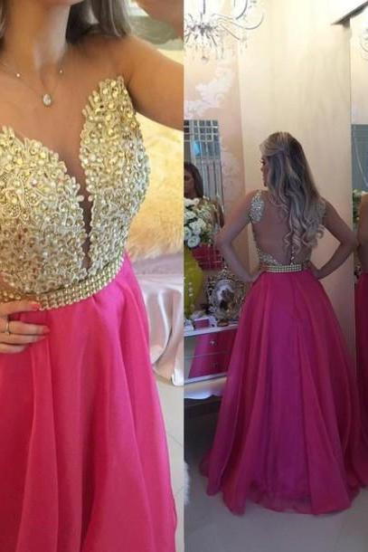 Prom Dresses,Charming Evening Dress,Prom Gowns,Lace Prom Dresses,2016 New Prom Gowns,Gold Evening Gown,Backless Party Dresses