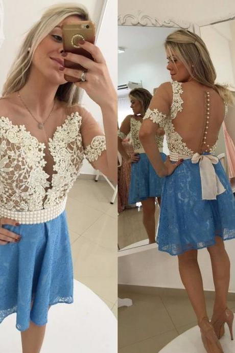 Blue Homecoming Dress,Straps Homecoming Dresses,Homecoming Gowns,Backless Party Dress,Short Prom Gown,Sweet 16 Dress,Homecoming Gowns