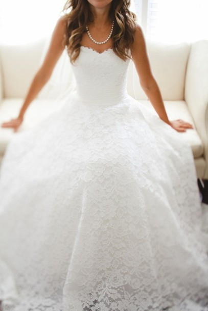 Lace Sweetheart Floor Length Wedding Gown