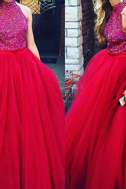 Red Prom Dresses,Simple Prom Dress,Sexy Prom Dress,Prom Dresses,2016 Formal Gown,Tulle Evening Gowns,Ball Gown Party Dress,Prom Gown For Teens