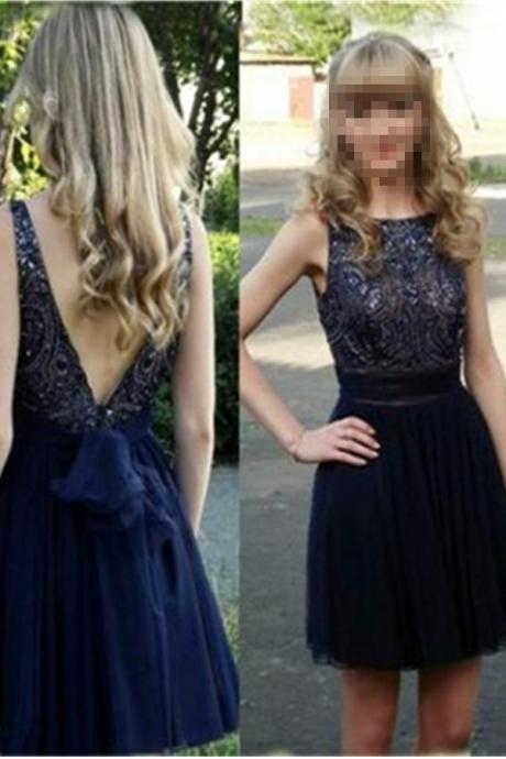 Navy Blue Short A=line Beading Open Back Homecoming Dresses,Elegant Cute Girly Tulle Homecoming Dress,Party Prom Dresses, Homecoming Dresses