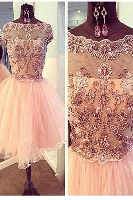 Homecoming Dresses,Gorgeous Handmade SHort Beaded Homecoming Dresses,Party Dresses,Graduation Dresses,Short Prom Dresses,Pink Homecoming Dress