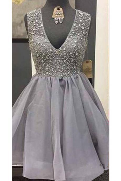 Homecoming Dresses,Grey V-neck Close Back Beading Homecoming Dresses,Modest Sparkly Homecoming Dress,Short Prom Dresses,Party Dresses