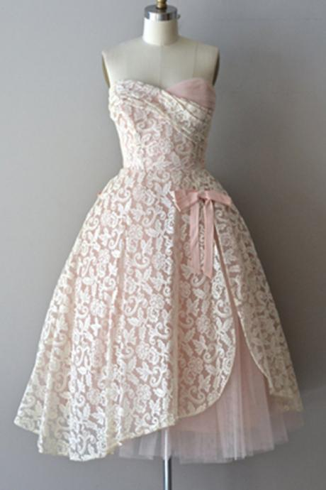 Homecoming Dresses,Vintage Simple Cheap Lace Tulle Pink Handmade Strapless Homecoming Dresses With Bow