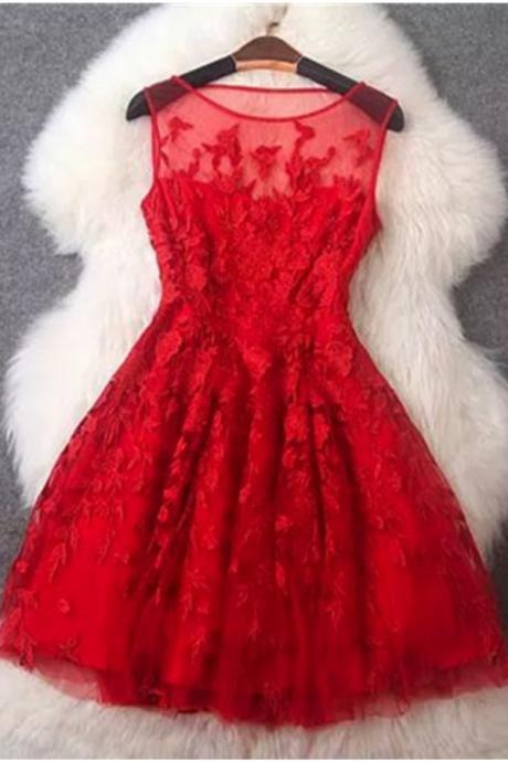 Homecoming Dresses,Charming Light Red Lace Short Homecoming Dresses,Sparkly Cocktail Dresses,Short Prom Dresses