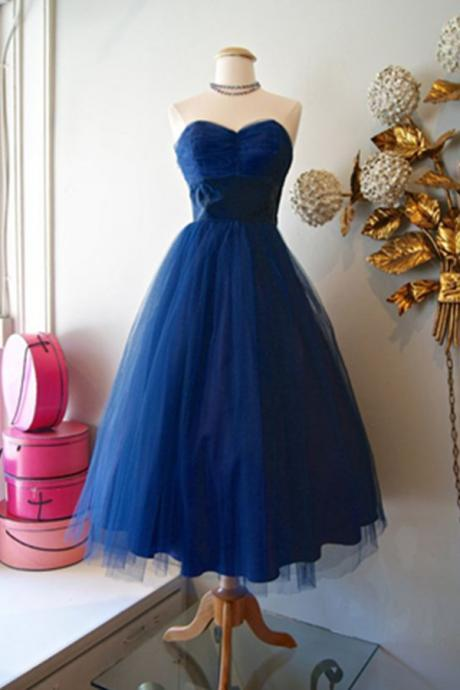 Homecoming Dresses,Simple Royal Blue Handmade Cheap Sweetheart Tulle Homecoming Dresses,Vintage Dresses,Cute Dresses,Formal Short Prom Dresses
