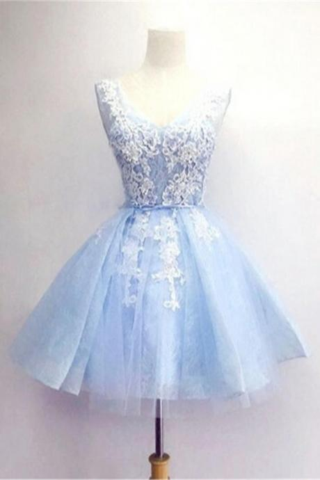 Homecoming Dresses,Light Blue Short Prom Dresses,V-neck Lace Homecoming Dresses,Homecoming Dress 2016,Party Dresses,Short Dress