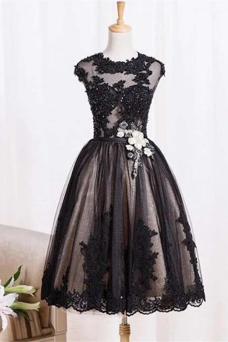 Homecoming Dresses,Black Vintage Dresses,Homecoming Dresses,Lace Homecoming Dress,Beaded Short Prom Dresses