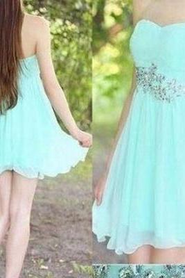 Homecoming Dresses,Simple Mint Chiffon Homecoming Dresses,Pretty Handmade Strapless Short Prom Dresses,Party Dresses,Homecoming Dresses For Teens