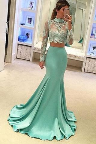 Evening Dresses, Prom Dresses,New Arrival Prom Dress,2017 light green two pieces long prom dress, mermaid lace long sleeve evening dresses,formal dresses