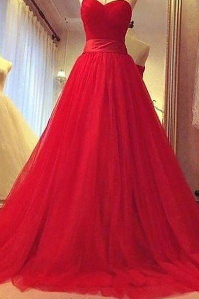 Evening Dresses, Prom Dresses,New Arrival Prom Dress,Red A-line sweetheart tulle long prom dress,evening dress,formal gown