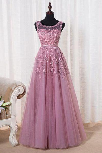 Evening Dresses, Prom Dresses,New Arrival Prom Dress,A-line pink tulle lace long prom dress,formal dress,party gown