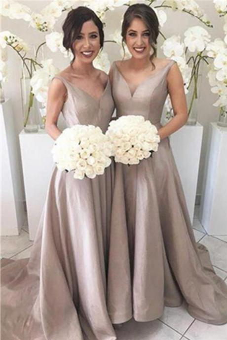 Evening Dresses, Prom Dresses,Simple V-neck Cheap Bridesmaid Gowns,Handmade Dresses,Elegant Long Bridesmaid Dresses,Bridesmaid Dresses
