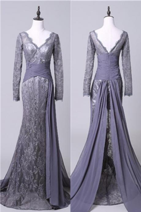 Evening Dresses, Prom Dresses,Modest Open Back Long Sleeves Lace Chiffon Prom Dresses,Mother Dresses,Mother Of The Bridal Dresses