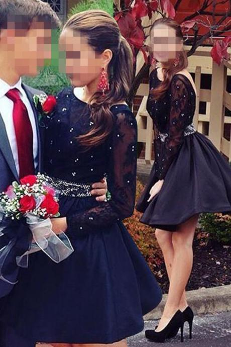 Evening Dresses, Prom Dresses,Black Satin Beading Long Sleeves Lace Backless A=line Homecoming Dresses,Short Homecoming Dresses,Modest Cocktail Dresses,Homecoming Dresses