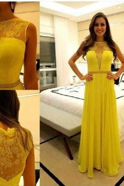 Evening Dresses, Prom Dresses,Prom Gown,Yellow Prom Dresses With Lace,Sexy Evening Gowns,A Line Formal Dresses,Yellow Prom Dresses