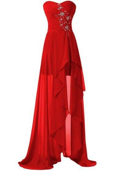 Evening Dresses, Prom Dresses,Prom Dresses,High Low Prom Dress,Backless Formal Gown,Red Prom Dresses,Evening Gowns,Chiffon Formal Gown For Teens