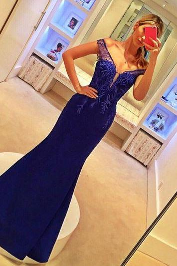 Evening Dresses, Prom Dresses,Lace Prom Gown,Royal blue Prom Dresses,Off The Shoulder Evening Gowns,Mermaid Formal Dresses,Royal blue Prom Dresses