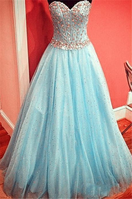 Evening Dresses, Prom Dresses,Party Dresses,Prom Dresses,Prom Dress,Gorgeous Sparkly Baby Blue Prom Dress, Sweetheart Evening Gowns with Crystals Belt