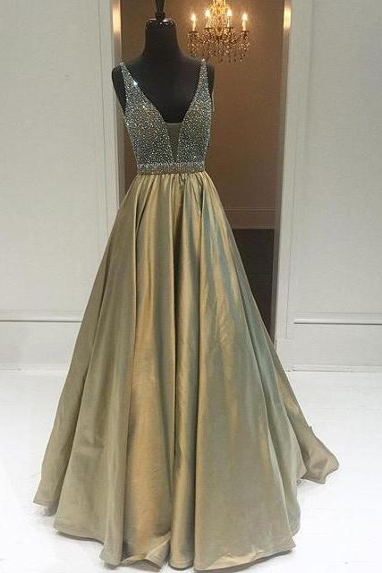 Evening Dresses, Prom Dresses,Party Dresses,Prom Dresses,Modest Prom Dresses,Sexy New Prom Dress,Elegant Sparkly Beads Top A-line Evening Dress Open Back Stretch Satin Prom Gown