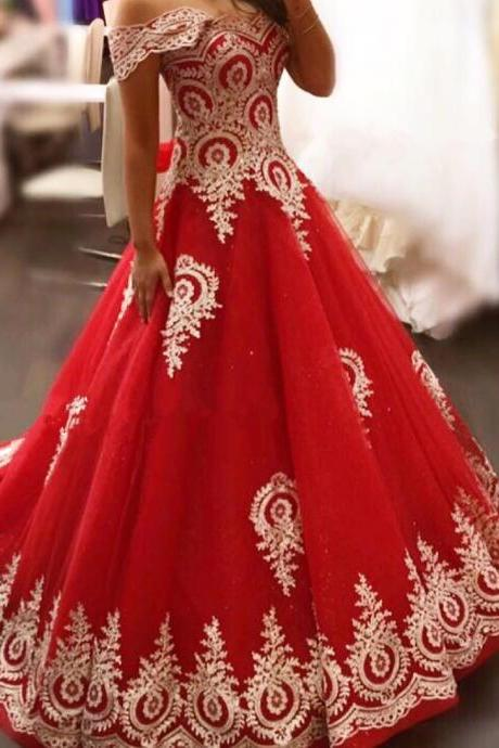 New Arrival Prom Dress,Modest Prom Dress,gold lace appliques prom dress,red evening gowns,elegant bride dress,prom dress 2017,wedding dresses