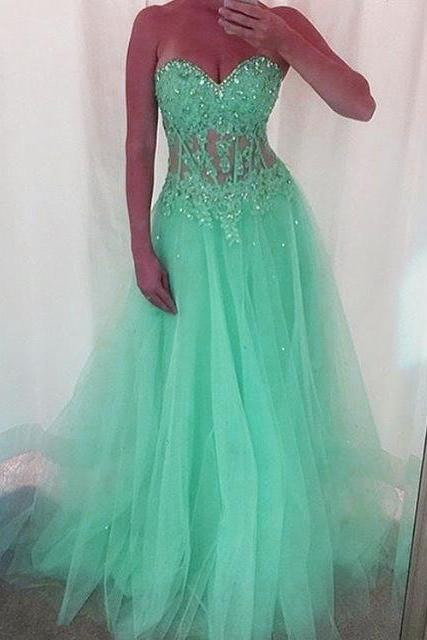 Evening Dresses, Prom Dresses,Party Dresses,New Arrival Prom Dress,Modest Prom Dress,Mint Green Long Tulle Prom Dresses, Sweetheart Neckline With Lace Appliques 2017